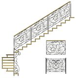 Wrought iron stairs railing Royalty Free Stock Photo