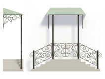 Wrought iron stairs railing and canopy. With green roof Stock Photo
