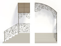 Wrought iron stairs railing and canopy. With leaves vector illustration