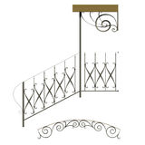 Wrought iron stairs railing. And canopy stock illustration