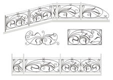 Wrought iron stairs railing, fence and grilles Royalty Free Stock Images