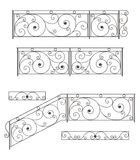 Wrought iron stairs railing, fence and grilles. Vector set: wrought iron stairs railing, fence and grilles isolated on white background stock illustration