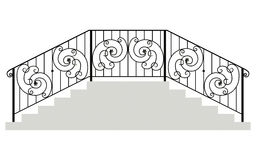 Wrought iron stairs railing Stock Images