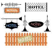 Wrought iron vintage signs and decor elements Stock Photography
