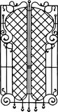 Wrought iron window bar pattern, vector illustration. Example of forged security window screen. Decorative window bars can be customized to fit any home style stock illustration