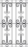 Wrought Iron Window Design Silhouette Cutout Stock Photography
