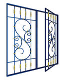 Wrought iron window grille. Wide-open wrought iron window grille Royalty Free Stock Photos