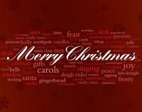 Wörter der frohen Weihnachten Stockfotografie