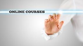 Wörter - on-line-Kurse - auf einer virtuellen Schnittstelle Lizenzfreie Stockfotografie