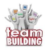Wörter Team Building People Employees Behinds 3d, wenn Exerc ausgebildet wird Lizenzfreie Stockbilder