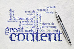 Wrting great content concept Royalty Free Stock Images