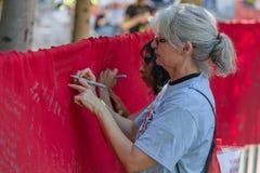 Wrtiting on Memorial AIDS Ribbon Royalty Free Stock Photos