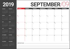 Września 2019 biurka kalendarza wektoru ilustracja ilustracji