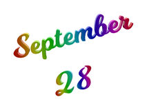 Września 28 data miesiąca kalendarz Odpłacał się tekst ilustrację Barwi Z RGB tęczy gradientem, Kaligraficzny 3D Zdjęcia Royalty Free