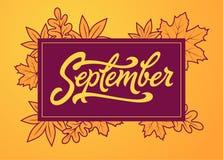 Września muśnięcia literowanie w prostokąt ramie Wektorowa typografia z jesień liśćmi Szczotkarski literowanie dla sztandaru, pla Obraz Stock
