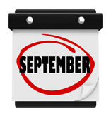 Września słowa Ściennego kalendarza zmiany miesiąca rozkład Fotografia Royalty Free