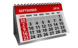 Września 2018 kalendarz Zdjęcie Royalty Free