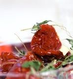 Würzengetrocknete Tomaten Stockfoto