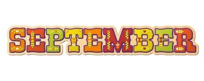 Wrzesień, ilustrujący imię kalendarzowy miesiąc, ilustracja Obraz Stock