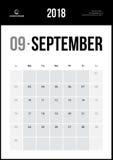 Wrzesień 2018 Minimalistyczny Ścienny kalendarz Zdjęcia Royalty Free