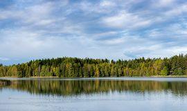 Wrzesień Norwegia, lasowy odbicie w jeziorze z niebieskim niebem i bawełnianym cukierkiem chmurnieje w jesieni Zdjęcia Royalty Free