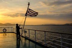2018 Wrzesień 13th, Syros ferryboat, Grecja Wiatr może być extrem zdjęcia stock