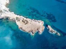 Wrzesień 2017: Widok Z Lotu Ptaka Fourni plaża, Rodos wyspa, Egejska, Grecja Obraz Stock