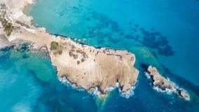 Wrzesień 2017: Widok Z Lotu Ptaka Fourni plaża, Rodos wyspa, Egejska, Grecja Obraz Royalty Free