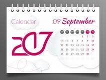 Wrzesień 2017 Kalendarz 2017 Obrazy Stock