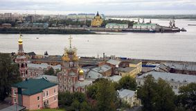 Wrzesień widok port Strelka Nizhny Novgorod Zdjęcie Stock