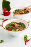Würzige asiatische Rindfleischsuppe Stockbilder