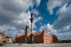 WS Royal Castle, Warsaw. Exterior of the Polish Royal Castle in Old Town Warsaw (Zamek Królewski w Warszawie) is a UNESCO World Heritage Site, set against big Royalty Free Stock Photography