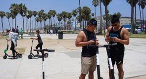 WS som hyr FÅGELsparkcyklar på den Venedig stranden Arkivfoto