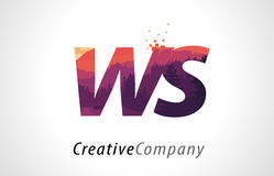 WS W S Letter Logo Design with Purple Forest Texture Flat Vector Stock Photos