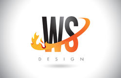 WS W S Letter Logo with Fire Flames Design and Orange Swoosh. Royalty Free Stock Photography
