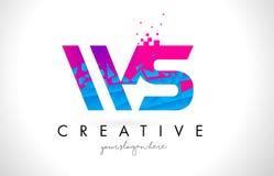 WS W S Letter Logo with Shattered Broken Blue Pink Texture Design Vector. WS W S Letter Logo with Broken Shattered Blue Pink Triangles Texture Design Vector vector illustration