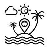 Wschód słońca z drzewkami palmowymi na tropikalnej wyspie ilustracji