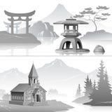 Wschód i zachodni Ilustracja Wektor