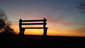 Wschód słońca ławka Zdjęcia Stock
