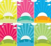 Wschód słońca abstrakcjonistyczni tła royalty ilustracja