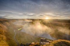 Wschód słońca blisko Gullfoss siklawy, Iceland Obrazy Royalty Free