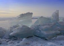 Wschód słońca Bloki lód Baikal Fotografia Royalty Free