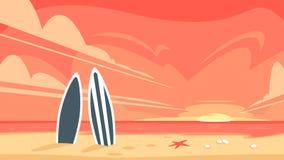 Wschód słońca i dwa surfboard ilustracji