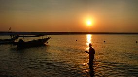 Wschód słońca i mężczyzna Obraz Stock