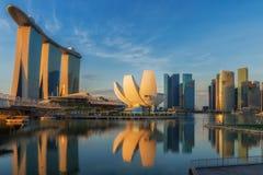 Wschód słońca i most w Singapur mieście z panorama widokiem Obraz Stock