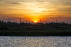 Wschód słońca jeziorem Fotografia Royalty Free