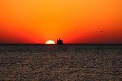 Wschód słońca, jezioro michigan zdjęcie royalty free