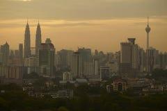 Wschód słońca Kuala Lumpur linia horyzontu Fotografia Stock