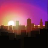 wschód słońca lub zmierzch w mieście miastowy krajobrazowy wieczór lub ranek royalty ilustracja