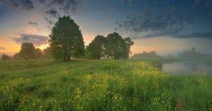 wschód słońca mgłowy krajobrazowy lato światła słonecznego wschód słońca Zdjęcie Stock